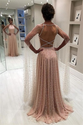 Glamorous Pink Sheer-Tulle Backless Beading  Prom Dress_1