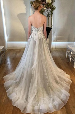 See Through Lace Appliques Sweetheart Wedding Dresses | Sleeveless Open Back Cheap Bridal Gowns_2