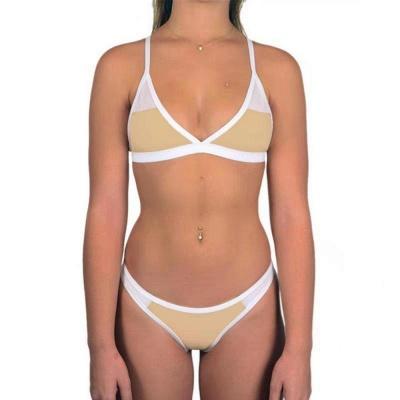 Triangle Pads Colorful Plain Sheer Net Sexy Bikini Sets_6