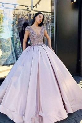 V-neck Sleeveless Crystal Beading Ball-Gown Prom Dresses_3