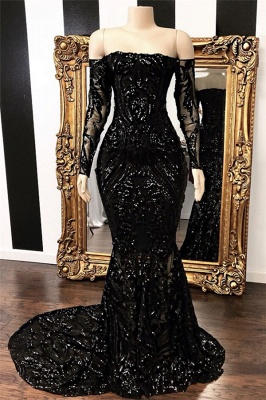 Off The Shoulder Long Sleeve Mermaid Sweep Train Long Prom Dresses Cheap_1