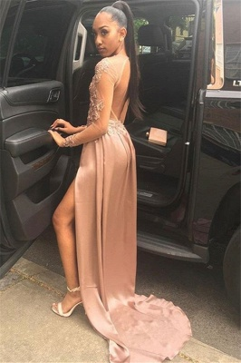 Chic Long-Sleeves Side Slit Backless Applique  Long Prom Dress_2
