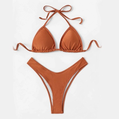 Simple Triangle Pads High Waist Two Piece Sexy Bikini Sets_5