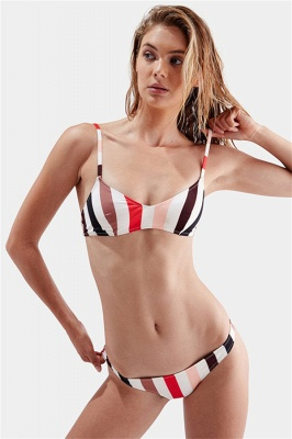 Colorful Stripes Spaghetti Straps Two Piece Sexy Bikini Set_3