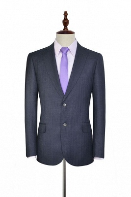 Dark Grey Wool Stripe Two botton Suit For Men | New Arriving Single Breasted Wedding Suit For Groom_3