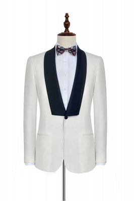 White Shawl Collar Single Breasted Wedding Suit   New Arrival 2 Pocket Custom Suit For Men_3