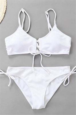 Spaghetti Straps Lace-up Bras Two Piece Sexy Bikini Swimsuits_14