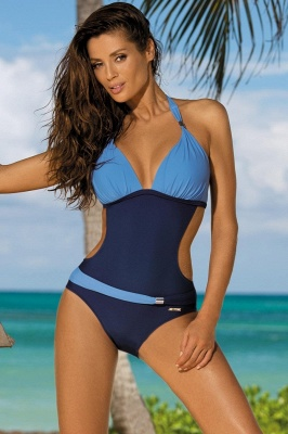 Halter One-piece Irrégulier Color Block Side Sheer Beachwear_14