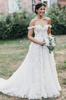 Latest Cheaps Off The Shoulder Wedding Dresses | Lace Appliques See Through Sleeveless Cheap Bridal Gowns_1
