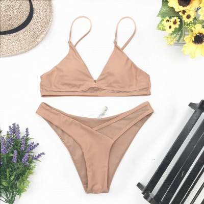 V-neck Spaghetti Straps Two Piece Sexy Bikini Swimsuits_8