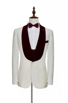 White Red Velvet Shawl Collar One Button Wedding Suit For Groom | Latest Design Single Breasted Slim Fit Suit_3