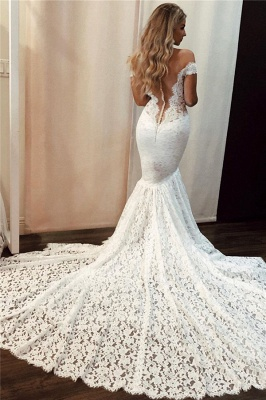 Latest Lace Off The Shoulder Sexy Wedding Dresses |  Mermaid Sleeveless Cheap Bridal Gowns_2
