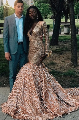 Glamorous Lone-Sleeves V-Neck Applique Long Sexy Mermaid Prom Dresses_1
