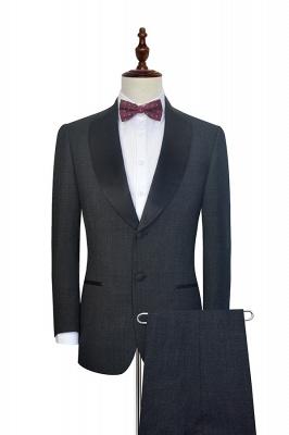 Gris foncé noir revers châle deux bouteilles costume de mariage pour le marié | Recommandent chauds Costumes 2 pièces sur mesure