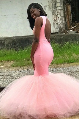 Pink Sleeveless Appliques Backless Tulle Sexy Mermaid Prom Dresses_2