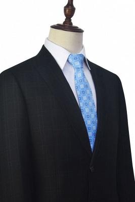 Black Plaid Two Standard Pocket Custom Suit For Formal   Fashion Peaked Lapel Single Breasted Wedding Groom Suits_6