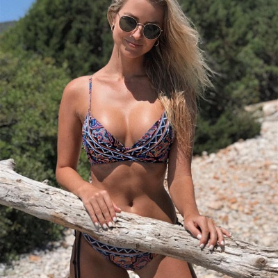 V-neck Spaghetti Tribal Patterns Two Piece Sexy Bikini Sets_7
