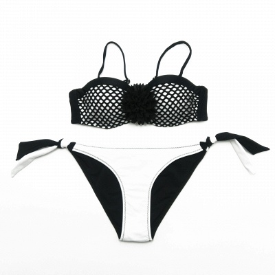 Sweetheart Spaghetti Black and White Mesh Sexy Bikini Sets_3