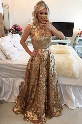 Chic Gold Straps Beaded Sequins Sleeveless Prom Dress_1
