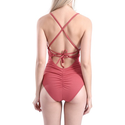 Plain V-neck Criss-cross Bandage One Piece Swimsuits_19