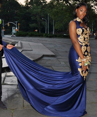 Glamorous Royal Hign-Neck Sleeveless Applique Sexy Mermaid Prom Dress_2