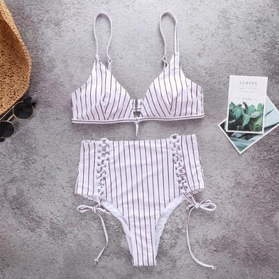 Vintage Ribbed Stripes Bra Two Piece Sexy Bikini Set_5