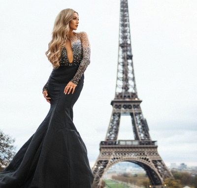 Chic Black Sheer-Tulle Appliques Long-Sleeves Sexy Mermaid Prom Dress_4