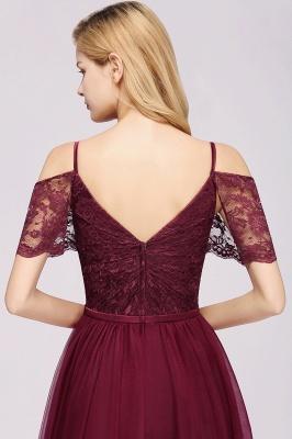 Chiffon Lace Sweetheart Spaghetti Straps Short-Sleeves Floor-Length Bridesmaid Dresses with Ruffles_4