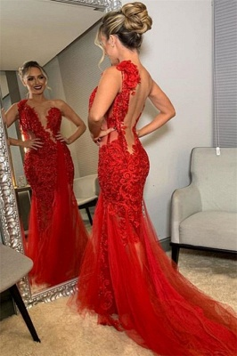 Burgundy One-Shoulder Lace Applique Backless Sexy Mermaid Tullle Prom Dresses_2