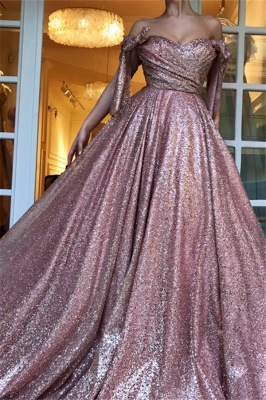 Glamorous Off-The-Shoulder Sequins  Evening Dress_3
