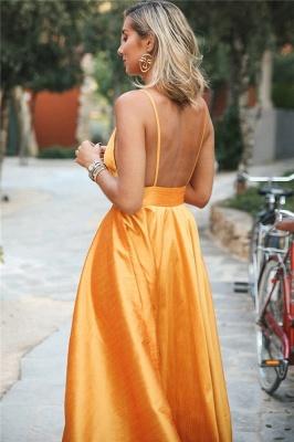 Glamorous Orange Spaghetti-Straps Sleeveless V-Neck  Prom Dress_2