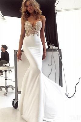 New Arrival Spaghetti Straps Open Back Appliques Sexy Mermaid Cheap Wedding Dresses_1