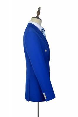 Royal Blue Double Breasted Wool Custom Suit | Fashion Peak Lapel Six Button Groom Wedding Tuxedos_5