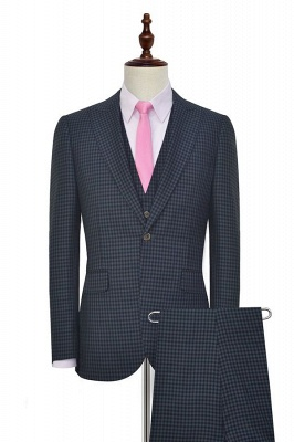 Dark Gray Small Grid One Button Peaked Lapel Custom Wedding Suit | Single Breasted Three-Piece Suit For Men Tuxedos_1