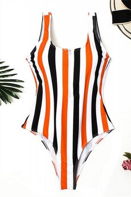 One Piece Zipper Stripes Straps Swimwear Suits_10