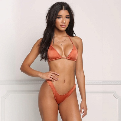 Simple Triangle Pads High Waist Two Piece Sexy Bikini Sets_7
