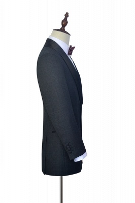 Dark Grey Black Shawl Lapel Two Bottons Wedding Suit For Groom | Hot Recommend Single Breasted Tailored 2 Piece Suits_5