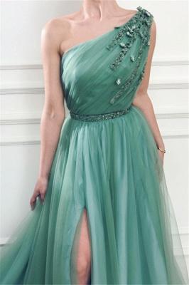 Elegant Appliques One-Shoulder Side-Slit Sleeveless Tulle A-Line Prom Dresses_3