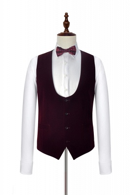 White Red Velvet Shawl Collar One Button Wedding Suit For Groom | Latest Design Single Breasted Slim Fit Suit_6