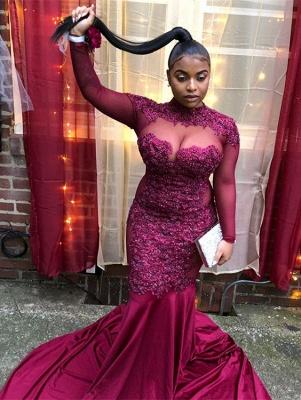 Burgundy High-Neck Long-Sleeves Sheer-Tulle Applique Prom Dress_4