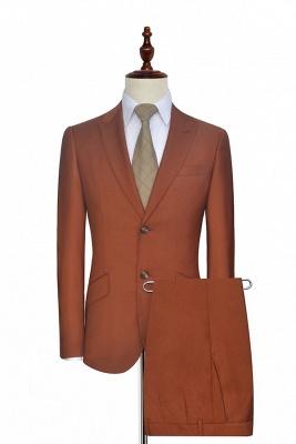 Nouvelle arrivée rouille rouge deux boutons costume personnalisé pour le bureau | Costume de couture boutonnière revers revers unique