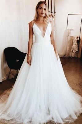 Elegant Sexy V-Neck Appliques Wedding Dresses | See Through Sleeveless Cheap Bridal Gowns_1