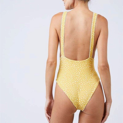 Yellow V-neck Knot One Piece Open Back Bathing Suits_8