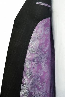Black Plaid Two Standard Pocket Custom Suit For Formal   Fashion Peaked Lapel Single Breasted Wedding Groom Suits_7