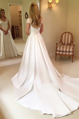 Latest Appliques Cap Sleeves Lace Wedding Dresses | Overskirt Jewel Cheap Bridal Gowns_2