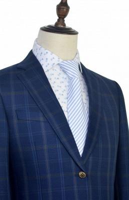 Costume de mariage de collier de châle de laine bleu foncé pour le marié | Nouvelle arrivée simple boutonnage costume sur mesure hommes_6