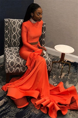 Sexy Orange Long-Sleeves High-Neck Sexy Mermaid Long Prom Dress_4