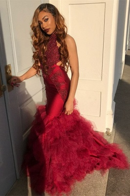Long Tulle Halter Sexy Mermaid Lace Appliques Prom Dresses_1