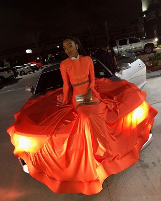 Sexy Orange Long-Sleeves High-Neck Sexy Mermaid Long Prom Dress_5