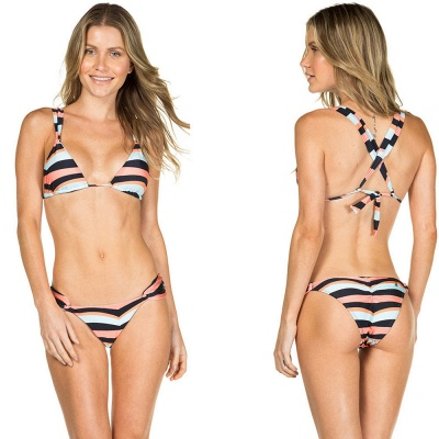 Stripes Criss-cross Triangle Bras Two Piece Sexy Bikini Swimwear_4